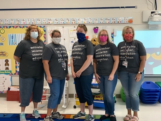 The preschool team at Washington looks a little different this year but they at all smiling under those masks!