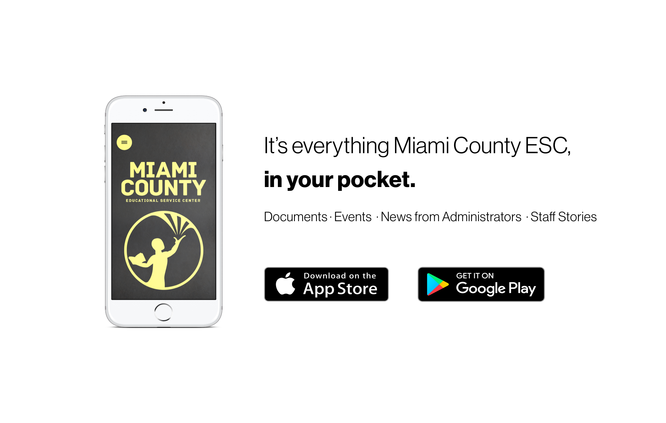 Image showing Miami County ESC app, with Apple and Google Play Store icons